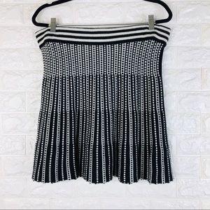 Catherine Malandrino White Black A-Line Knit Skirt